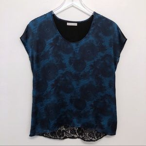 Nordstrom   Hinge   Blue Floral High Low Lace Top